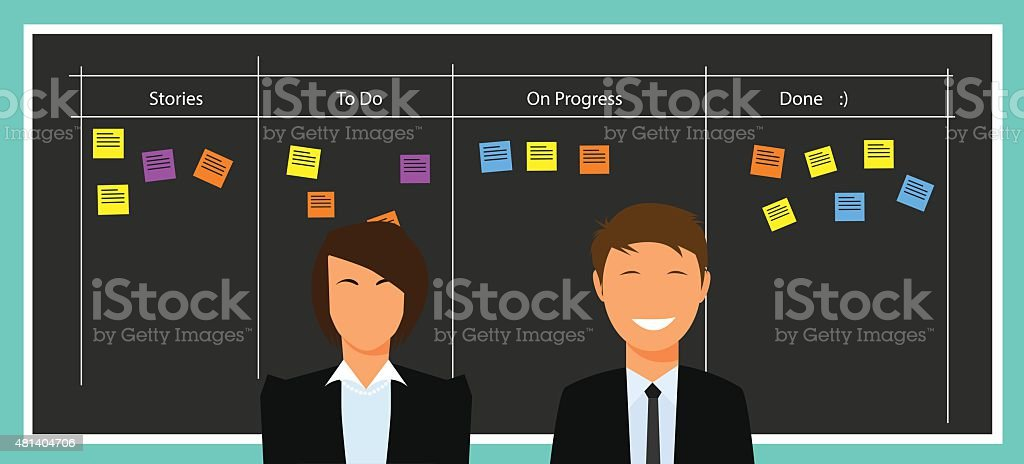 Scrum agile board vector art illustration