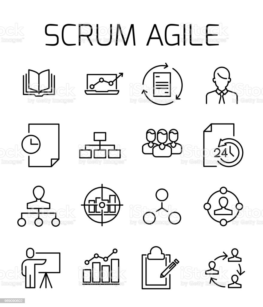 Scrum agile related vector icon set. vector art illustration