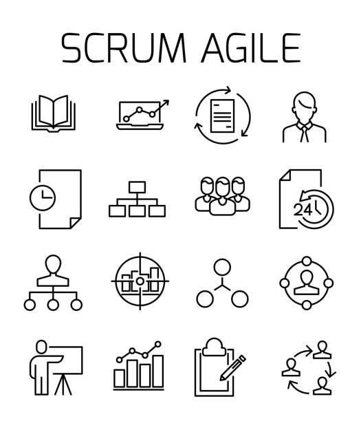 Scrum agile related vector icon set. vector art illustration