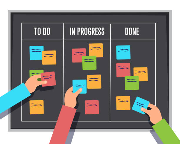 scrum management board, project process sticky note and planning notes, vector illustration vector art illustration