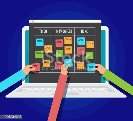 istock scrum management board, workflow project on tablet pc, vector illustration 1206234325