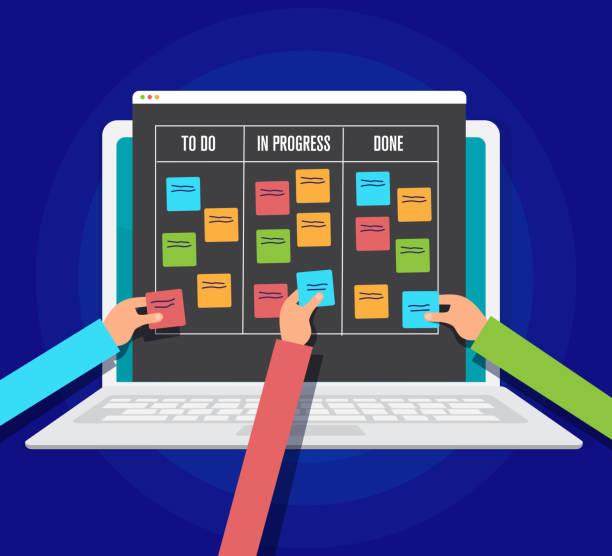 scrum management board, workflow project on tablet pc, vector illustration vector art illustration