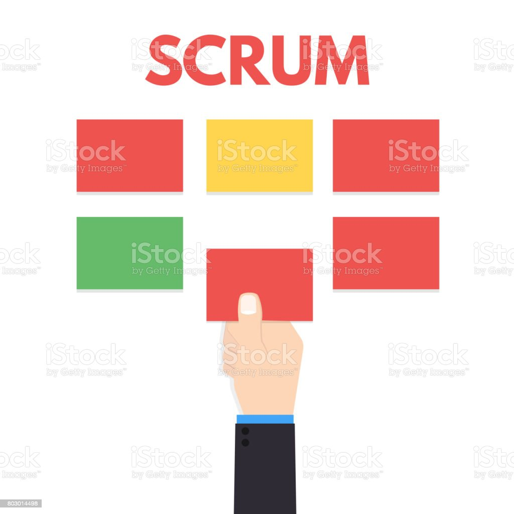Scrum master with hand. Vector illustration. vector art illustration