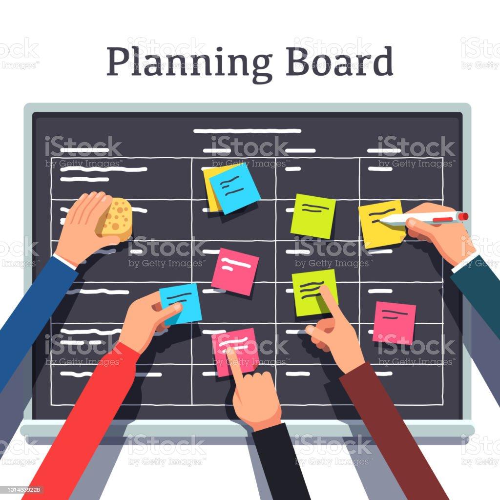 Scrum methodology task board full of tasks. Flat vector clipart illustration vector art illustration