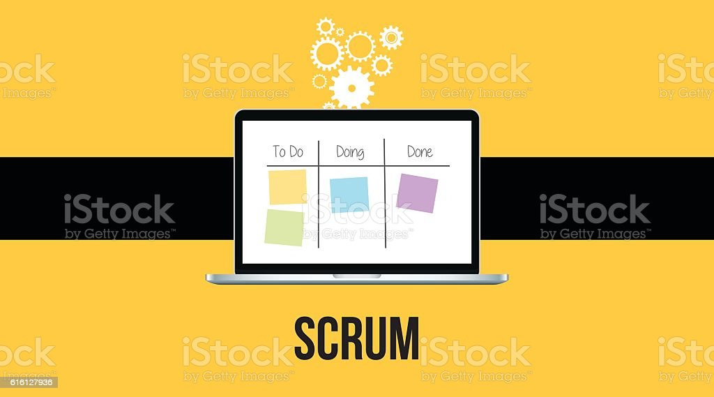 scrum methodology with laptop and sticky notes  yellow background vector art illustration