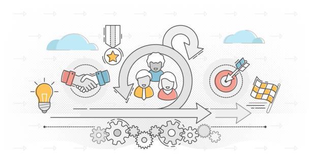 Scrum outline concept vector illustration, software development process. vector art illustration
