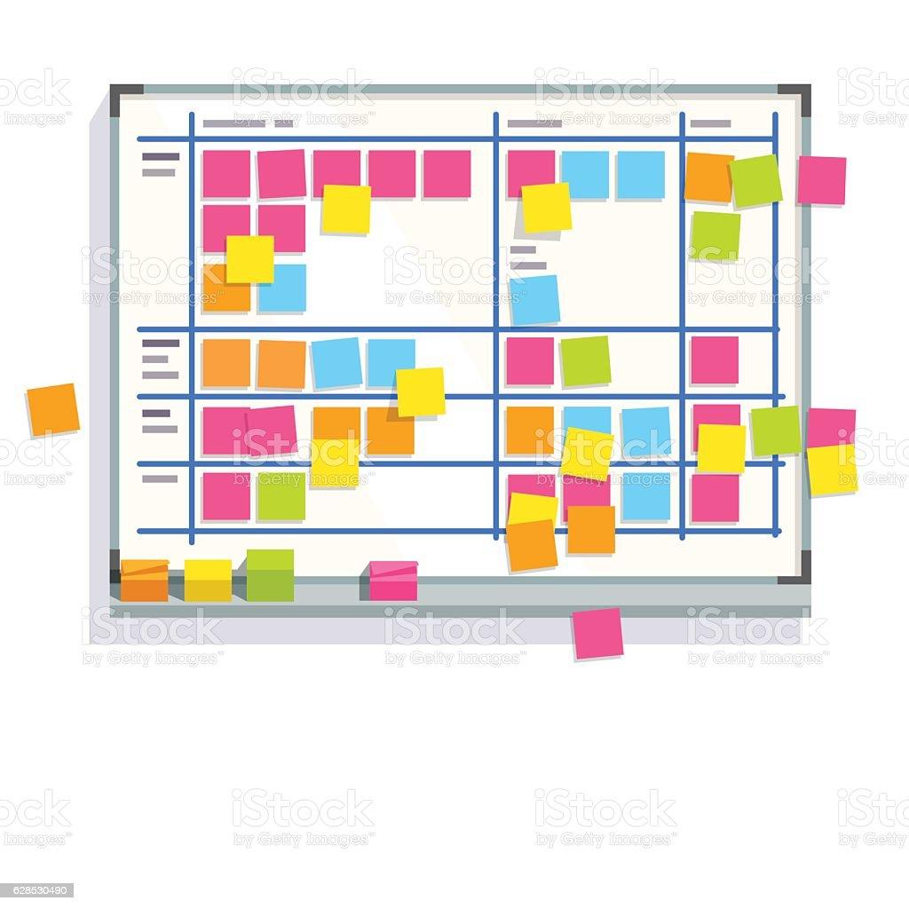 Scrum task board whiteboard full of tasks vector art illustration