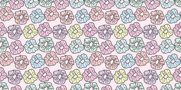 Scrunchy, hair tie vector pattern background