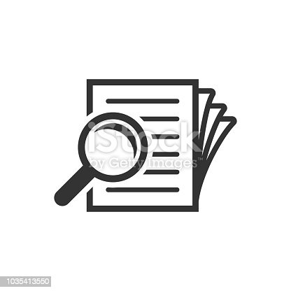 Scrutiny document plan icon in flat style. Review statement vector illustration on white isolated background. Document with magnifier loupe business concept.