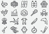 Scuba And Diving Line Icons