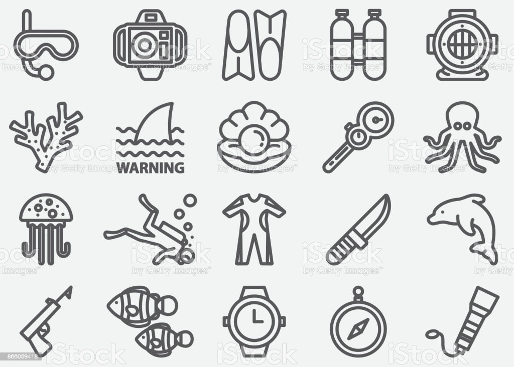 Scuba And Diving Line Icons vector art illustration