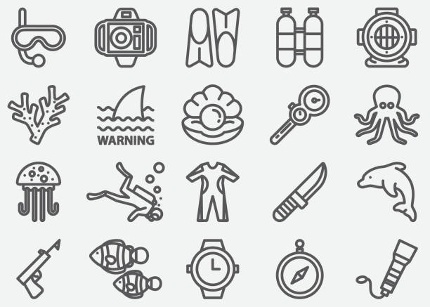 Scuba And Diving Line Icons Scuba And Diving Line Icons diving into water stock illustrations