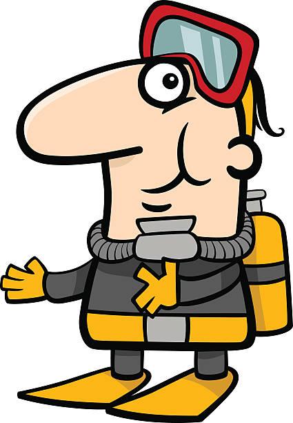 illustrazioni stock, clip art, cartoni animati e icone di tendenza di scuba diver illustrazione fumetto - frogman