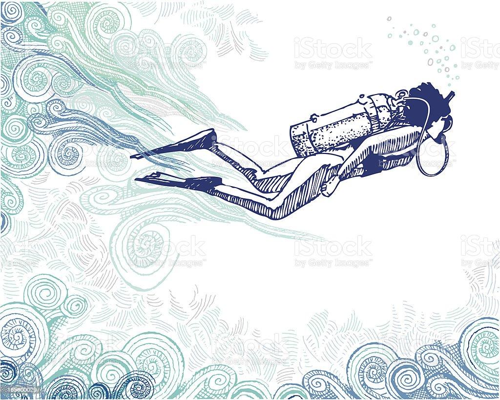 Scuba Diver Doodle vector art illustration