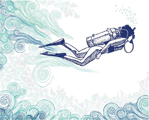stockillustraties, clipart, cartoons en iconen met scuba diver doodle - woman water
