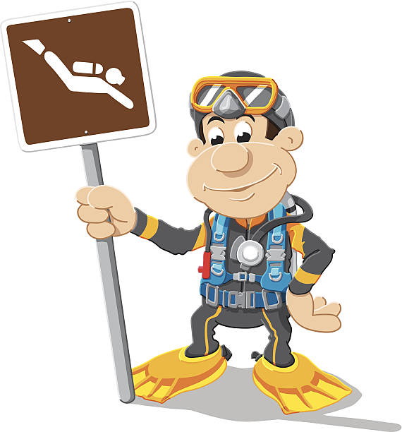 Scuba Diver Sign Cartoon Man Isolated Vector Illustration of a Cartoon Scuba Diver, who is holding a road sign with a diver symbol. The illustration is on a transparent background (.eps-file). The colors in the .eps-file are ready for print (CMYK). Included files: EPS (v8) and Hi-Res JPG. cartoon people sign stock illustrations