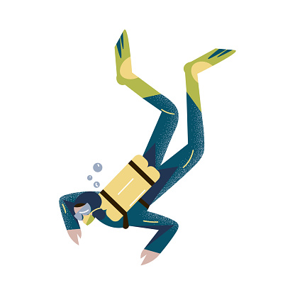 Scuba diver swimming underwater and diving deep in deep-sea or ocean. Vector illustration in the flat cartoon style.