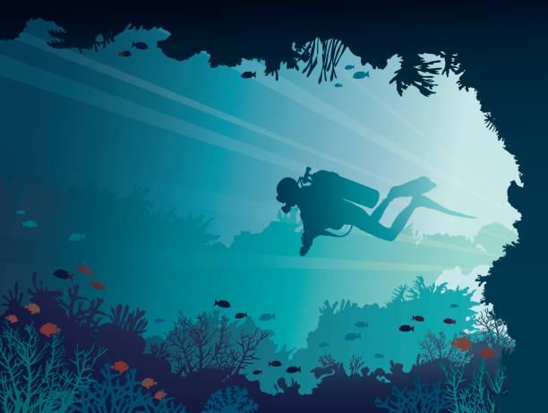 taucher, unterwasser-höhle, korallen, meer - schwimmpflanzen stock-grafiken, -clipart, -cartoons und -symbole