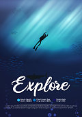 Scuba diver underwater ocean scene background of reefs explore poster