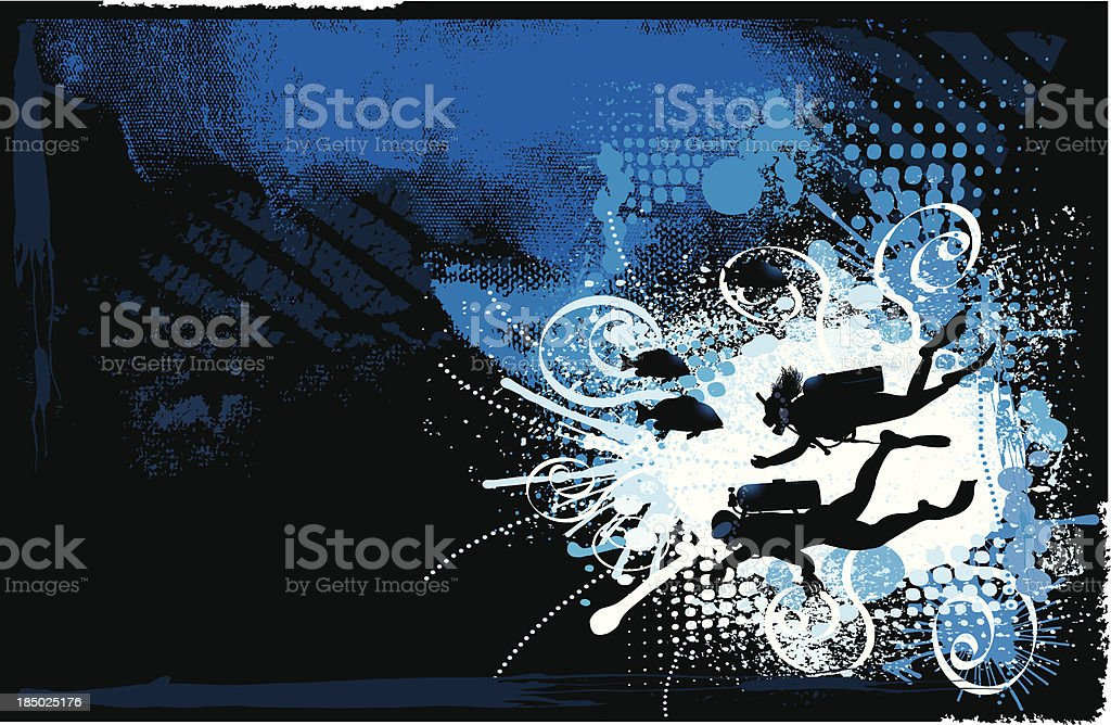 Scuba Divers Grunge Background royalty-free stock vector art