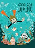 Scuba divers under water. Vector illustration.
