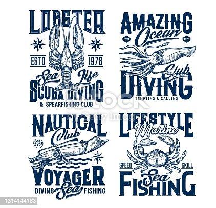 Scuba diving and sea fishing club t-shirt prints