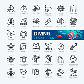 Scuba Diving and Snorkeling elements - minimal thin line web icon set. Outline icons collection. Simple vector illustration.