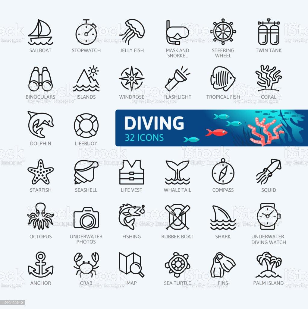 Tauchen und Schnorcheln Elemente - minimal dünne Linie Web Icon-Set. Die Symbolsammlung zu skizzieren. Einfachen Vektor-Illustration. – Vektorgrafik
