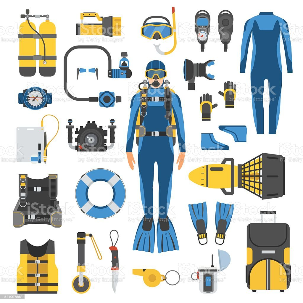 Scuba diving and snorkeling gear set stock vector art for Scuba dive equipment