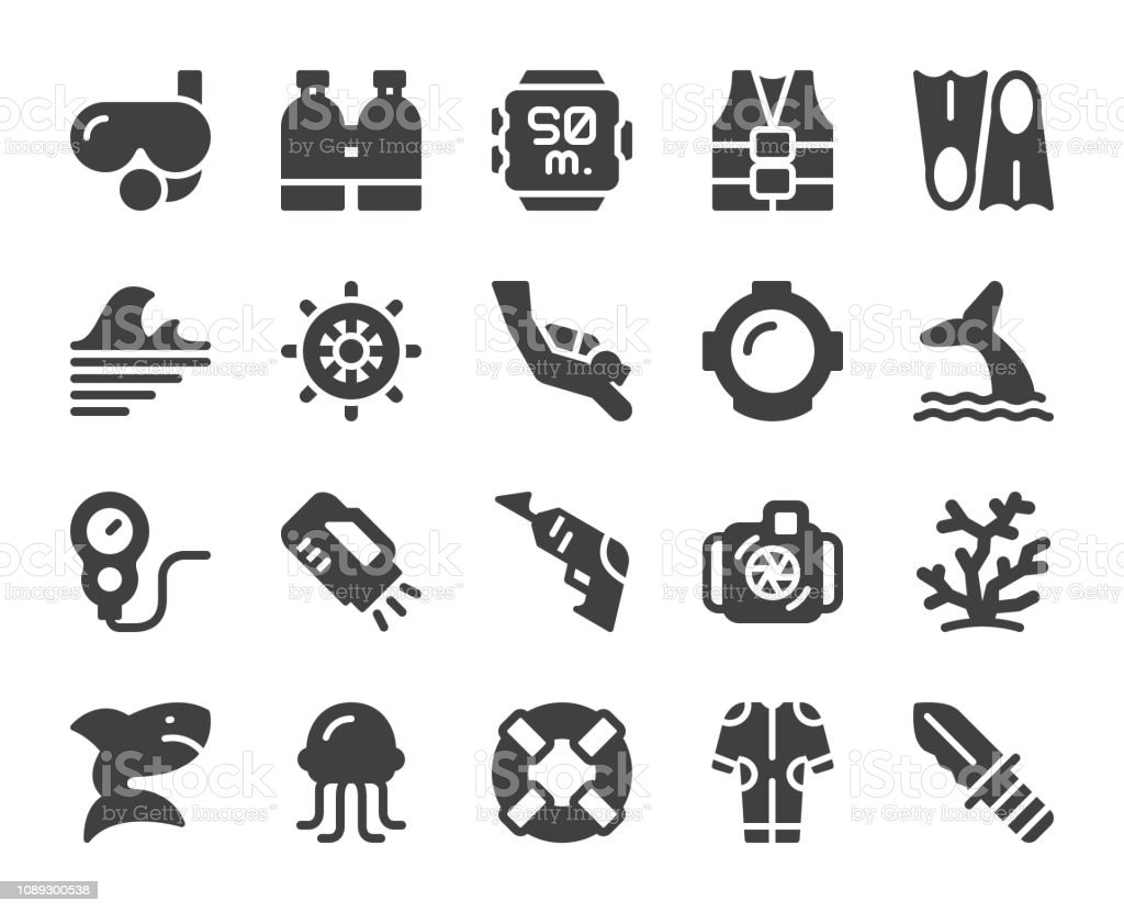 Scuba Diving and Snorkeling - Icons vector art illustration