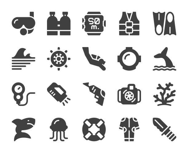 ilustrações de stock, clip art, desenhos animados e ícones de scuba diving and snorkeling - icons - swim arms