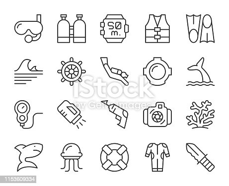 Scuba Diving and Snorkeling Light Line Icons Vector EPS File.