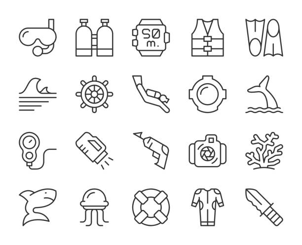 Scuba Diving and Snorkeling - Light Line Icons Scuba Diving and Snorkeling Light Line Icons Vector EPS File. diving into water stock illustrations