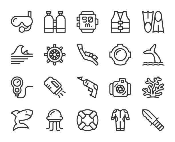 ilustrações de stock, clip art, desenhos animados e ícones de scuba diving and snorkeling - line icons - swim arms