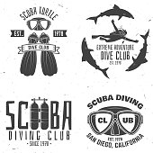 Scuba diving club. Vector illustration. Concept for shirt or symbol, print, stamp or tee. Vintage typography design with diving gear silhouette.