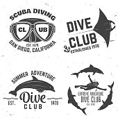 Scuba diving club. Vector illustration. Concept for shirt or , print, stamp or tee. Vintage typography design with diving gear silhouette.