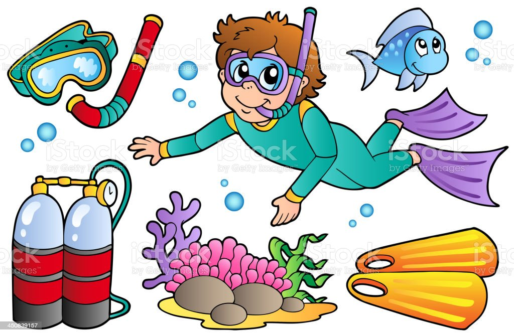 Scuba diving collection royalty-free stock vector art