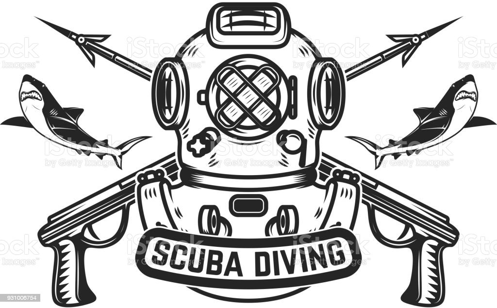 Scuba Diving Emblem Template With Old Style Diver Helmet And Underwater Guns Design Element