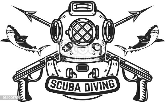 Scuba Diving Emblem Template With Old Style Diver Helmet