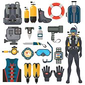 Scuba diving equipment accessories collection