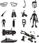 Scuba diving icons set