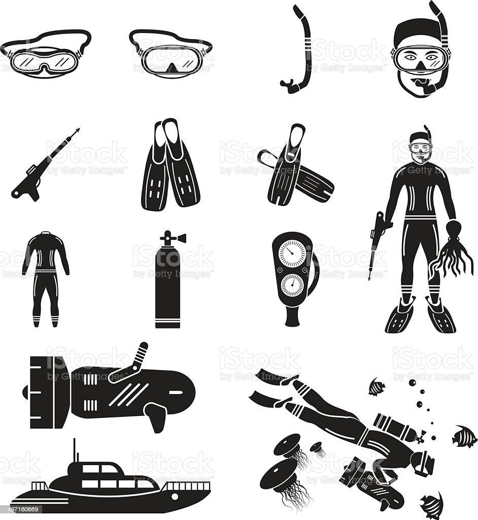 Scuba diving icons set vector art illustration
