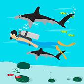 Scuba diving illustration - Vector