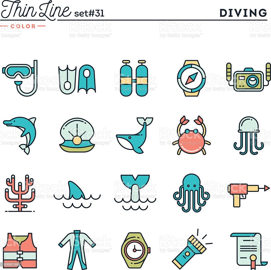 Scuba diving, underwater animals, equipment, certificate and more vector art illustration