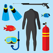 Vector illustration of scuba related items against a blue background in flat style.