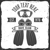 Scuba turtle dive club. Vector illustration. Concept for shirt or , print, stamp or tee. Vintage typography design with diving mask and fins silhouette.