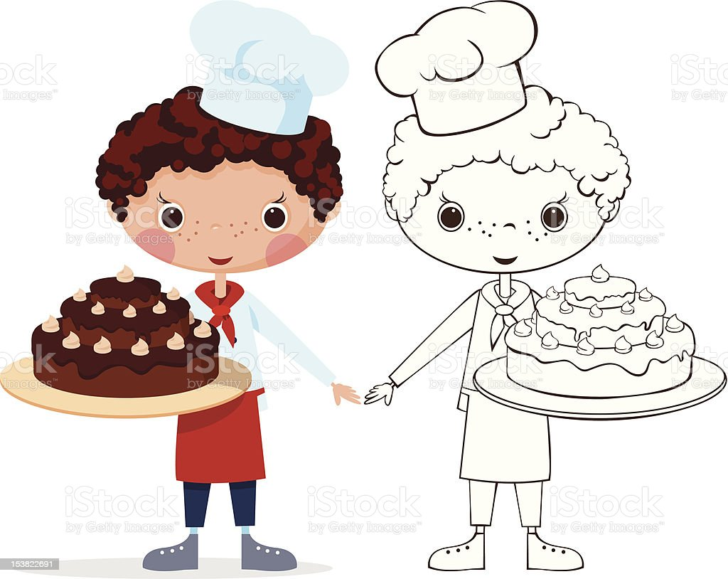 Scullion with cake royalty-free stock vector art