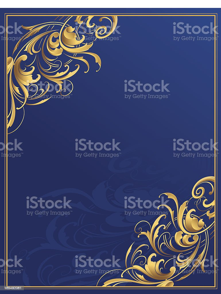 Sculpted Corners on Blue Page royalty-free stock vector art