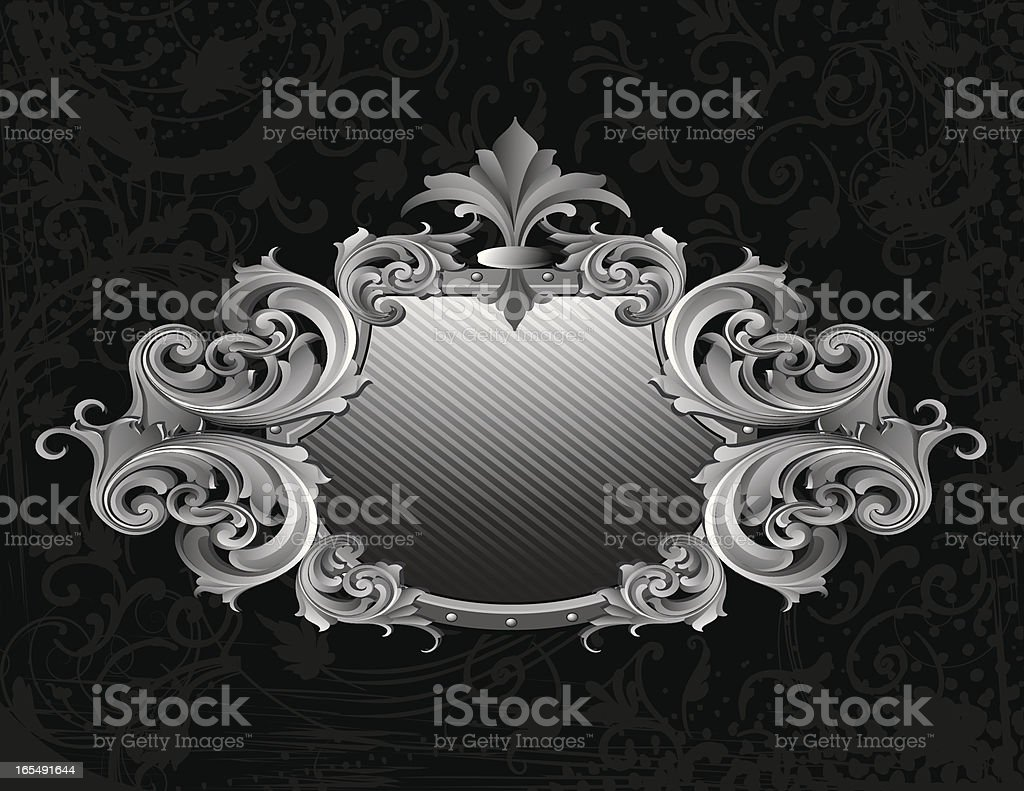 Sculpted Grey Scroll Banner royalty-free stock vector art