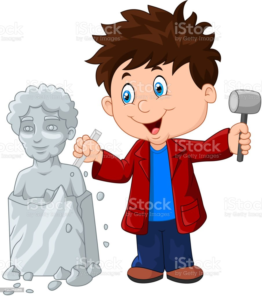 Sculptor boy holding chisel and hammer vector art illustration